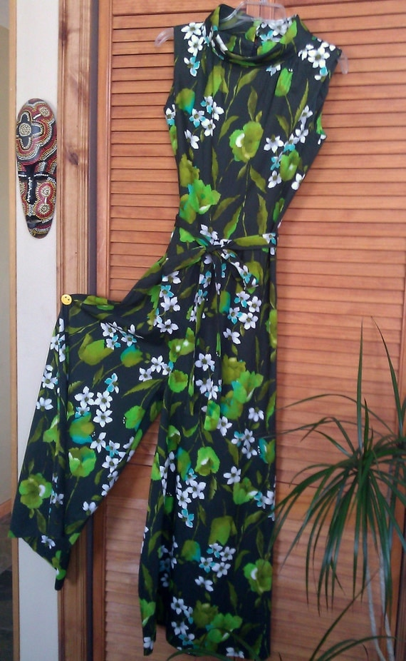 Vintage 60s/70s  Wide Leg Palazzo Pant Jumpsuit  Groovy Green / RESERVED for GAIL M