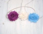 Set of 3 Shabby chiffon rose headbands- photo prop, newborns, babies, girls, teens, women,