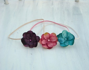 Set of 3 Dainty Flower Headbands- Jewel Tones set- newborn, baby, toddler, girls, women, photo prop