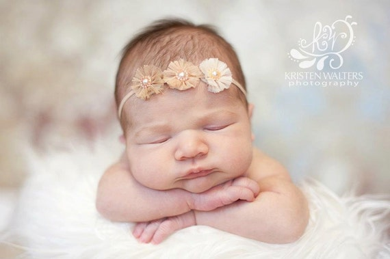 Chiffon Rosette Headband -newborn photo prop, baby, toddler, girls, women