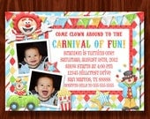 Carnival Circus Clown Birthday Invitation printable digital file