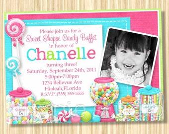 Sweet Shoppe Buffet Birthday Party Invitation PRINTABLE Digital File