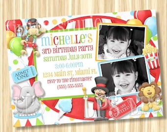 Circus Carnival Theme Birthday Invitation PRINTABLE Digital File