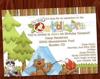 Camping the Great Outdoors Birthday Invitation PRINTABLE Digital File