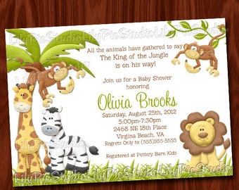 King of the Jungle Baby Shower Invitation Printable Digital File