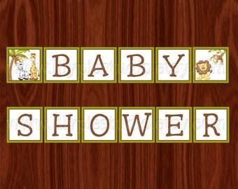 Jungle Baby Shower Banner PRINTABLE Digital File