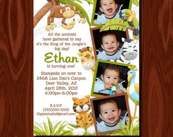 King of the Jungle Photo Birthday Invitation Printable Digital File