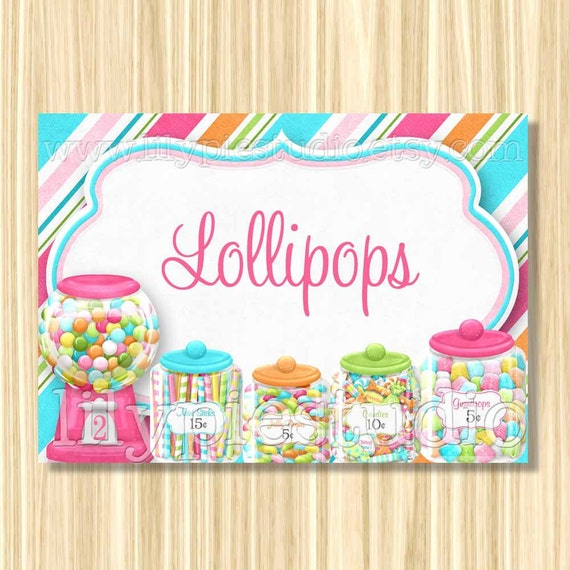 Sweet Shoppe Themed Personalized Buffet Cards Digital PRINTABLE PDF FILE