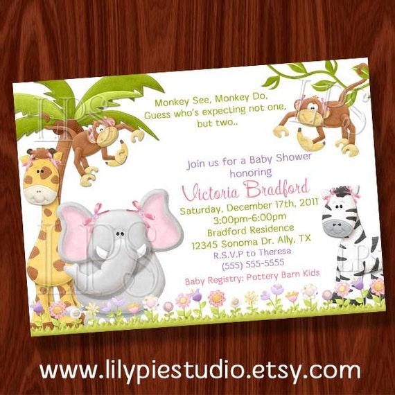 Monkey Twin Girl Baby Shower Invitation PRINTABLE Digital File
