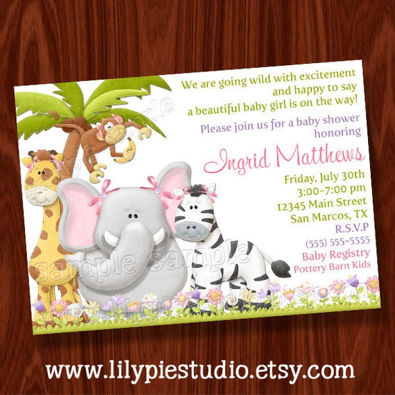 Jungle Girl Baby Shower Invitation Printable Digital File By Lily