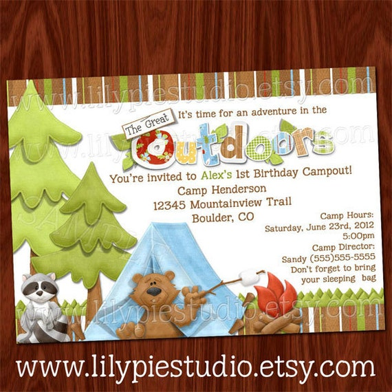 camping the great outdoors birthday invitation by lilypiestudio, Birthday invitations
