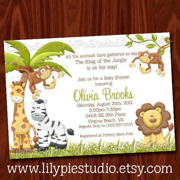 King Of The Jungle Baby Shower Invitation By LilyPieStudio