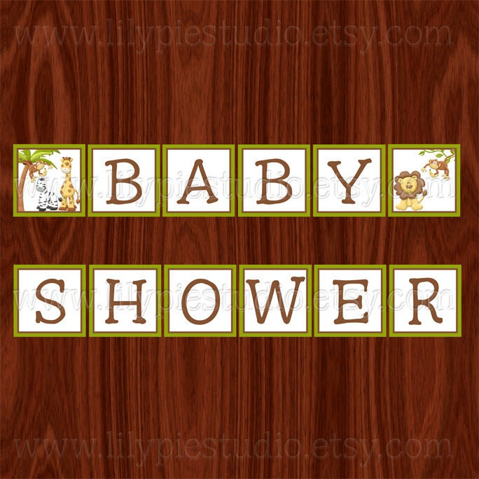 Jungle baby shower banner printable digital file Baby shower banners