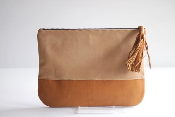 COLORBLOCK- Two-toned Leather Clutch in Nude and Tan
