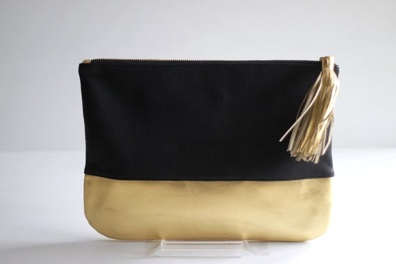 COLORBLOCK- Two-toned Leather Clutch in Black and Gold