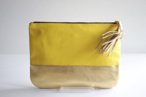 COLORBLOCK- Two-toned Leather Clutch in Yellow and Gold