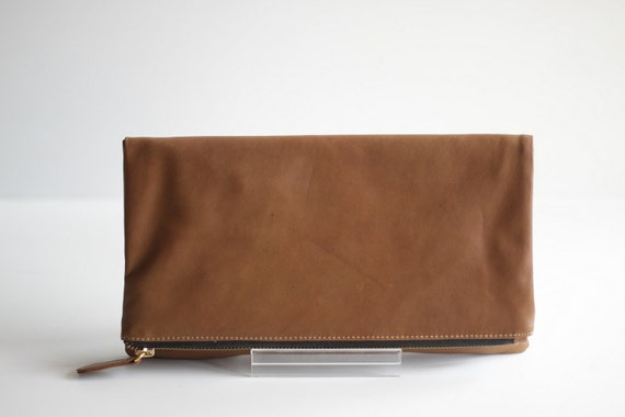 FOLDOVER- Folded Leather Clutch in Tan