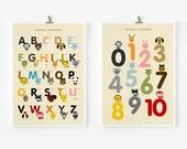 Children decor, Alphabet and Number Posters, Kids wall art, Animal art print, Classroom Decor, Nursery Art, Children Room Decor