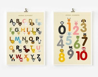 SALE 20% OFF Children decor, Alphabet and Number Posters, Kids wall art, Animal art print, Classroom Decor, Nursery Art, Children Room Decor