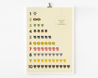 Count The Animals number wall art poster, Children Room Decor, Classroom Decor