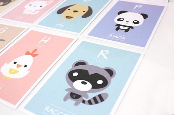 "Children Decor Alphabet Nursery Art Print, Kids Wall Art, Animal ABC Flash Cards, Children Wall cards - Set of 26 (5""x7"") ,"