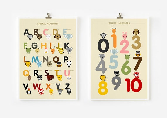 ABC's and 123's animal 8x10 on A4 alphabet and number art print, poster