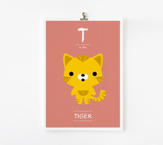 Kids wall art, Alphabet poster T is for Tiger art print  - Animal Children Decor, Nursery Art