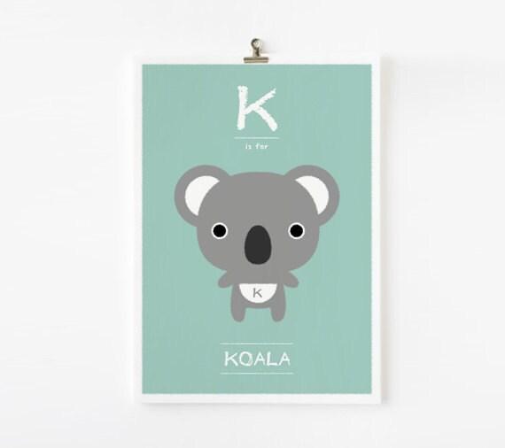 Kids wall art, Alphabet poster K is for Koala art print - Animal Children Decor, Nursery Art