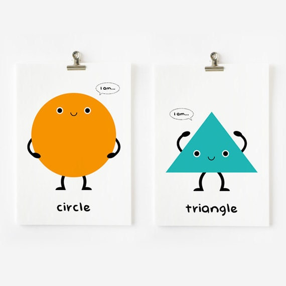 Children Decor Cute Geometric Shapes Flash Cards Set By