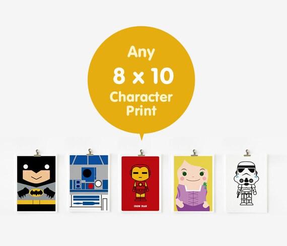 SALE Any character art prints in 8 x 10, Nursery Art, Children Room Decor