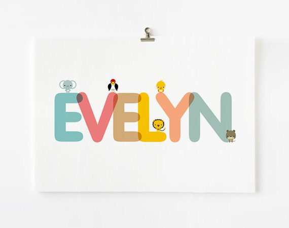 Personalized Custom Children's Alphabet Name art prints, Nursery baby wall art, Kid wall arts with animal 8 x10