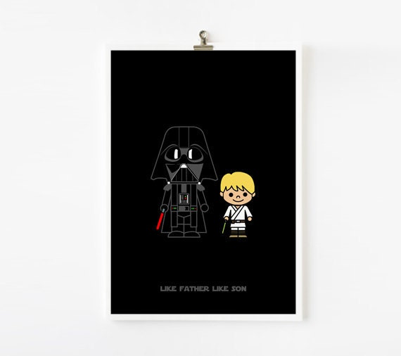 Printable Father Day Gift / Card, Like Father Like Son, Darth Vader, Luke, Starwars