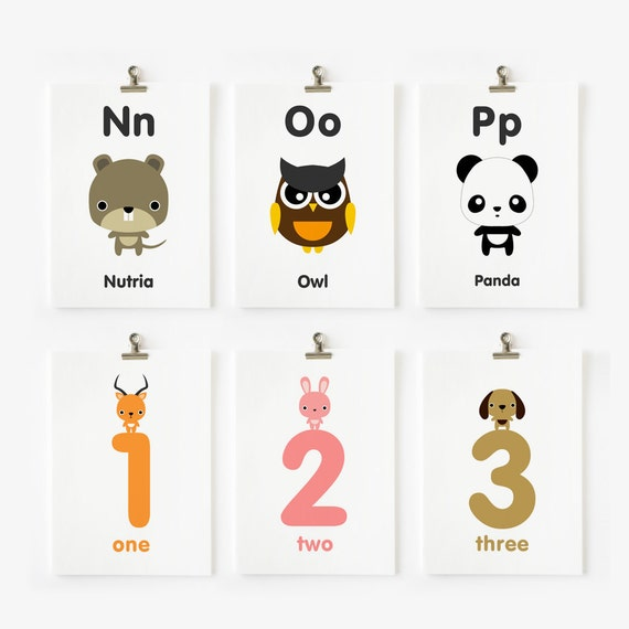 Alphabet Uppercase and Lowercase and Numbers Flash Cards, Children Decor, Kids Wall Art, Nursery Wall Cards, Classroom Decor