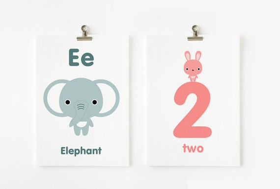 Alphabet Uppercase and Lowercase and Numbers 5x7 Flash Cards, Children Decor, Kids Wall Art, Nursery Wall Art