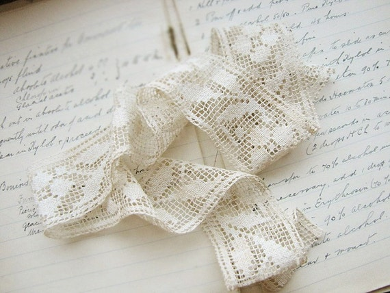 antique lace - handmade - Victorian - shabby cottage style