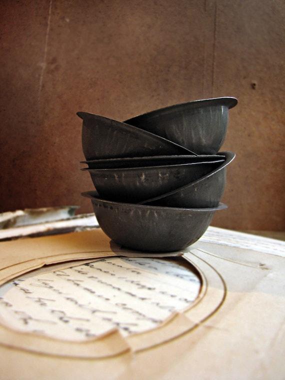 antique pie tins - set of 6 - kitchen display - handy storage - mixed media supply - LAST SET