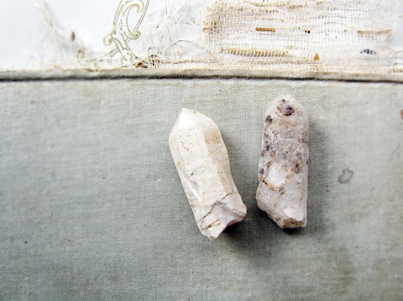 AA pair of ethical crystals - milky quartz - snow quartz - wild harvest - eco friendly