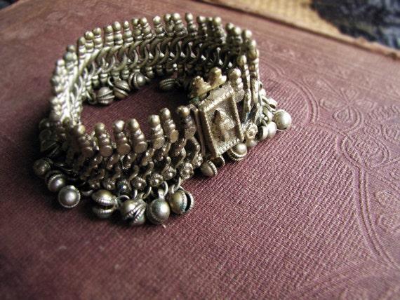antique vintage tribal bell bracelet - gypsy style bellydancer jewelry - heavy cast brass - Kuchi India