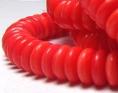 Czech Glass Beads Bright Coral 5mm Discs (80)