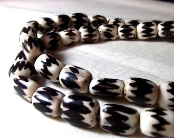 African Beads - Trade Beads Batik Bone Rustic Beads (10)