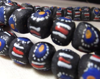 African Beads - Powder Glass Trade beads Hand Painted (12)