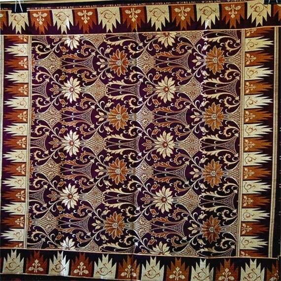 Embroidered African Fabric GEORGE Fabric Panel deep plum, gold, rust, orange