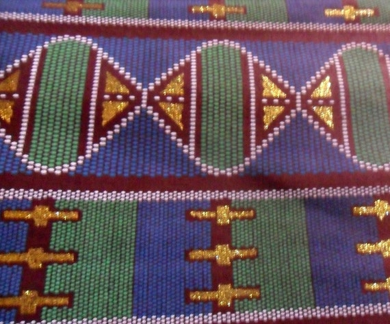 African Fabric 1 yard African Fabric dark colored woodin print green gold yellow blue