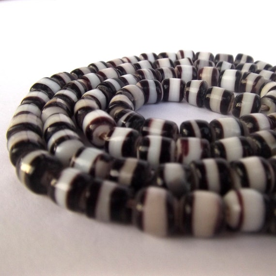 African Glass Beads - New White and Black God's Eye Beads 6mm (20)