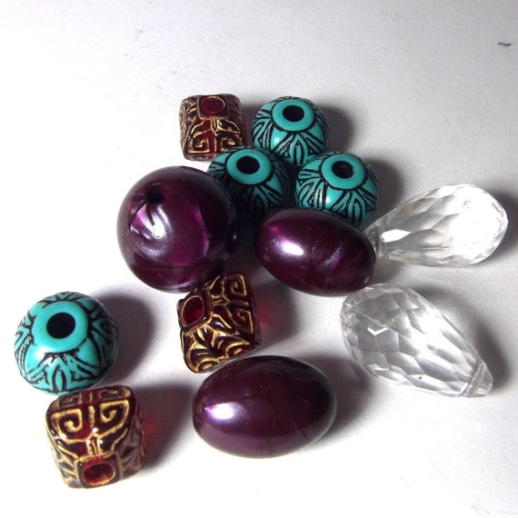 Bead MIx Purple, turquoise, red and gold resin bead assortment