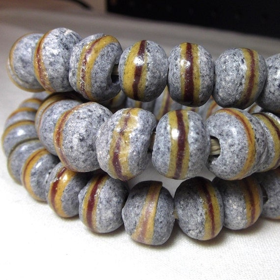 African Beads - Powder Glass Trade beads in stone and yellow (8)