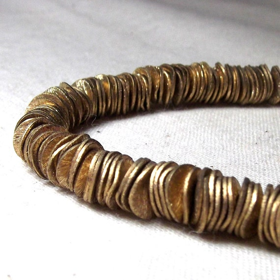 Brass Beads - Wavy Corn Flake Spacers Brushed Brass 6mm (80)