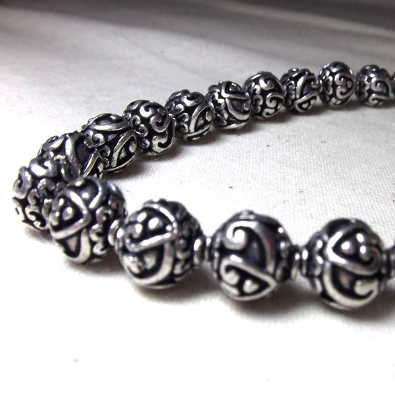 Silver Spacers Heart Design 9mm rounds Silver Beads (6) Bali Style