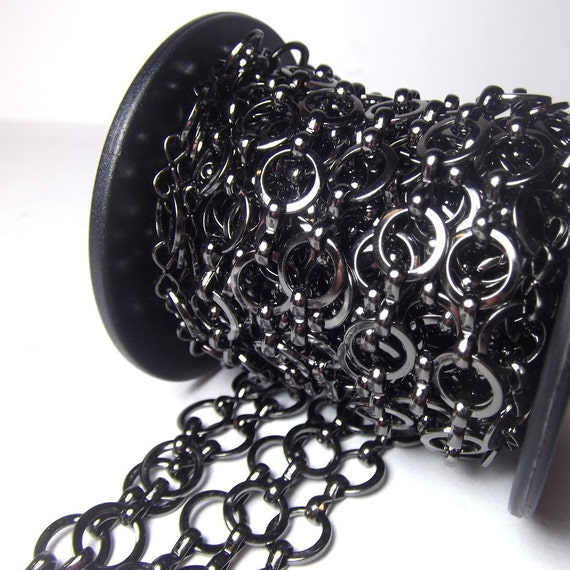 Gunmetal Chain - Black chain Rings and figure 8's 9mm 1 foot