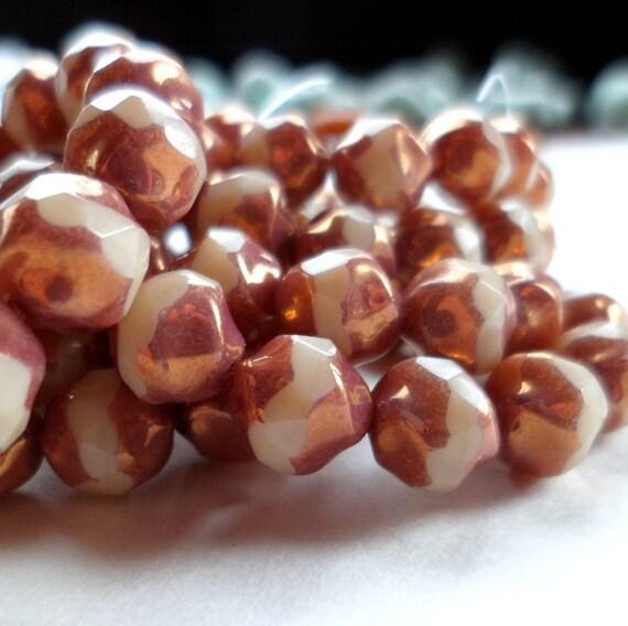Czech Gass Beads Center Cut Copper and Cream 7mm (15)